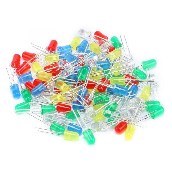 100 x Leuchtdiode LED 5mm - sortiert weiss, rot, gelb, blau, grün