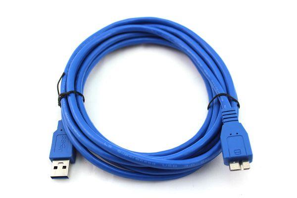 3m USB 3.0 Kabel, A-Stecker auf Micro-B-Stecker, Vernickelt, Blau