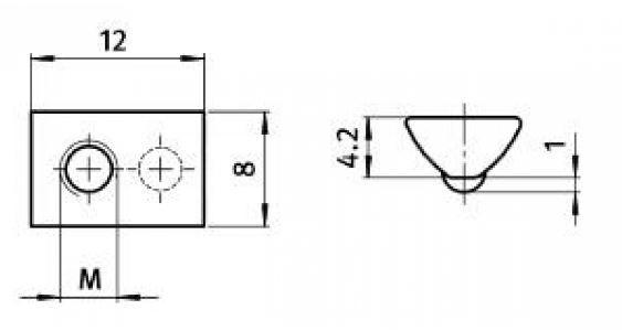 Nutenstein glatt I-Typ Nut 5 [M4]