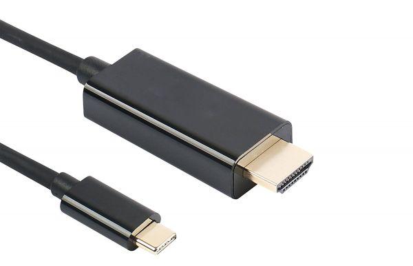 1m USB 3.1 Typ C zu HDMI Kabel, Vergoldet, 3840*2160P/60HZ, Schwarz