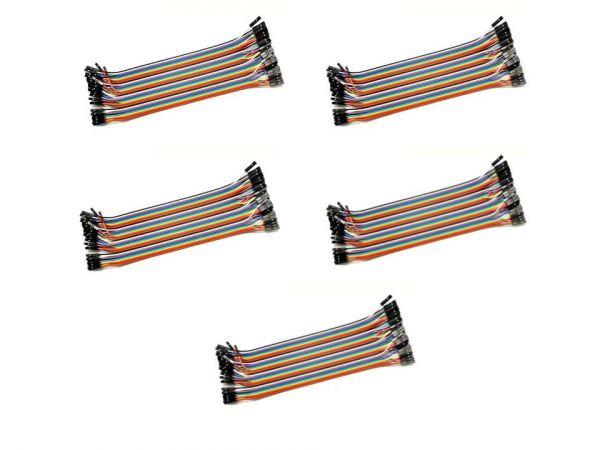 5x 40 Pin Dupont Kabel Buchse-Buchse 20 cm