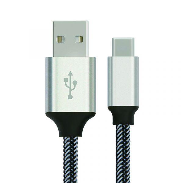 yourDroid 1m USB 2.0 Kabel, A-Stecker auf USB-C-Kabel, Metallgehäuse, Nylonhülse