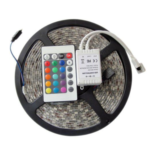 Waterproof LED strip 3528 RGB 5M Ribbon 300LED SMD + 24key IR Remote controller,DC 12V fexible IP65