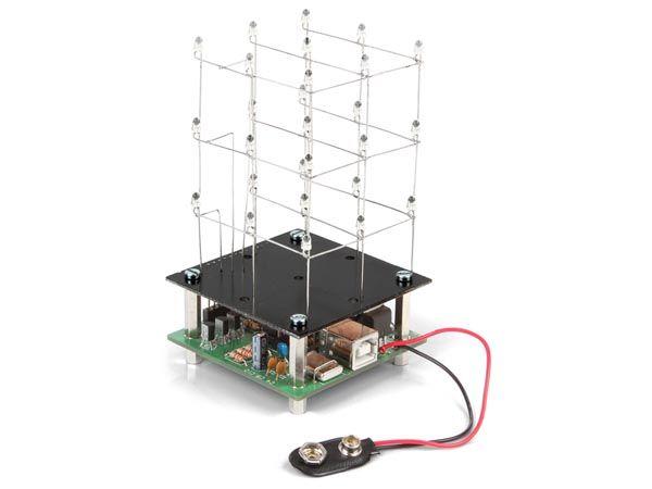 Bausatz: Velleman MK193 3D LED-Würfel 3 x 3 x 3 (rot)