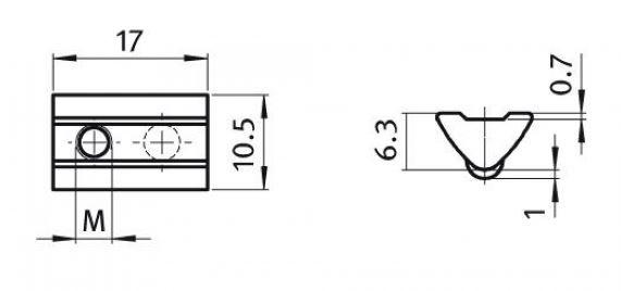 Nutenstein glatt I-Typ Nut 6 [M6]