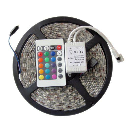 Waterproof LED strip 3528 RGB 5M Ribbon 300LED SMD + 24key IR Remote controller-DC 12V fexible IP65