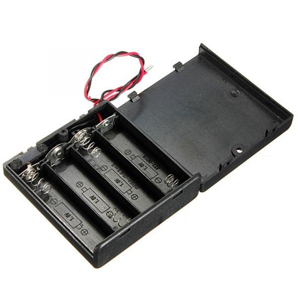 Batteriehalter für 4x AA Batterien 6V mit An/Aus-Schalter