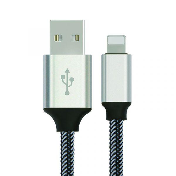 yourDroid 1m USB 2.0 Kabel, A-Stecker auf Lightning Ladekabel, Metallgehäuse, Nylonhülse