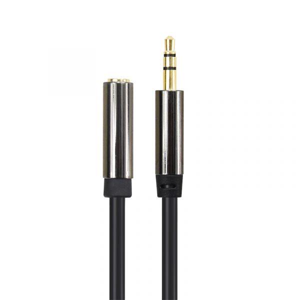 yourDroid 1m Audiokabel, 3,5mm Stereo Stecker auf Buchse, Metallgehäuse, Vergoldet, Schwarz