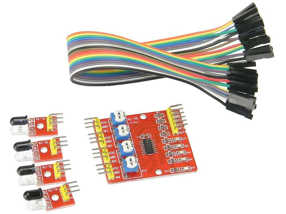 4 Kanal IR Infrarot Tracking Sensor Modul - Hindernisserkennung für Smart Car