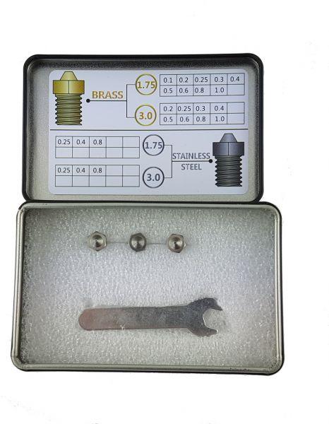 M6 Edelstahldüse Sortiment 1.75mm 3 Stück 0.25 0.4 0.8