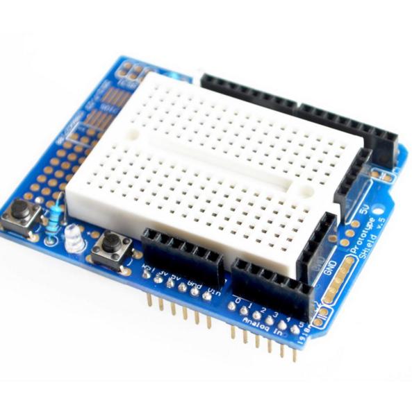 Prototyping breadboard shield v adapter for arduino uno