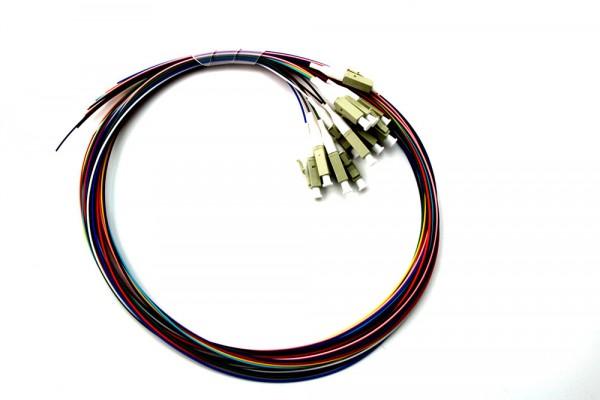 LWL LC 12fach Pigtails farbig 50/125µ OM2 1m