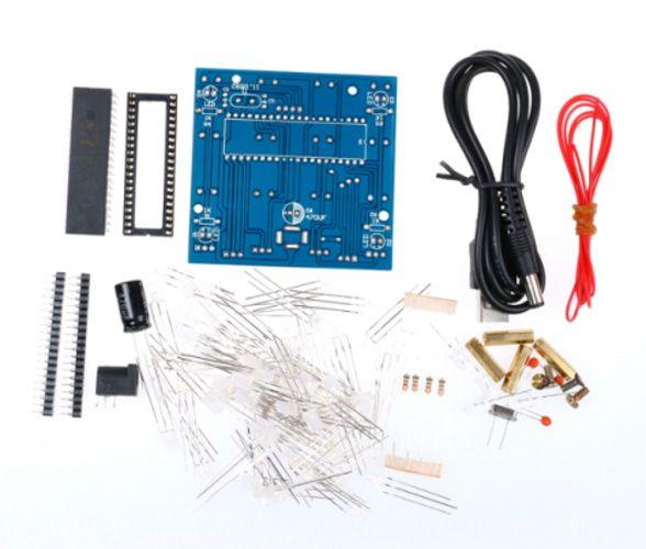 Bausatz 4x4x4 LED Würfel rot/blau