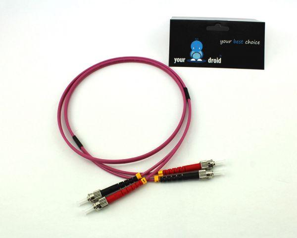 Glasfaser LWL Duplex Patchkabel ST-ST 50/125µ OM4 2m