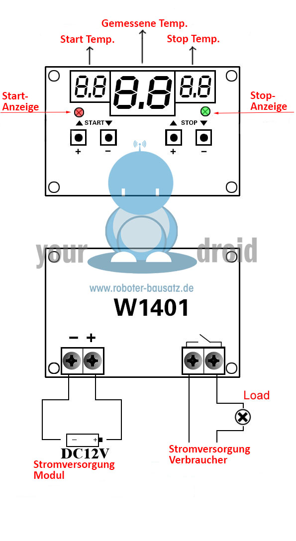 Your Droid XH-W1401 12V DC Digitaler Temperatur-Controller | Roboter ...