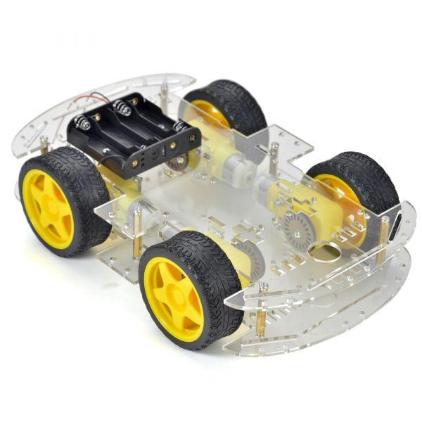 4WD Smart Car Chassis für Roboter - mit Getriebemotor und Batteriebox
