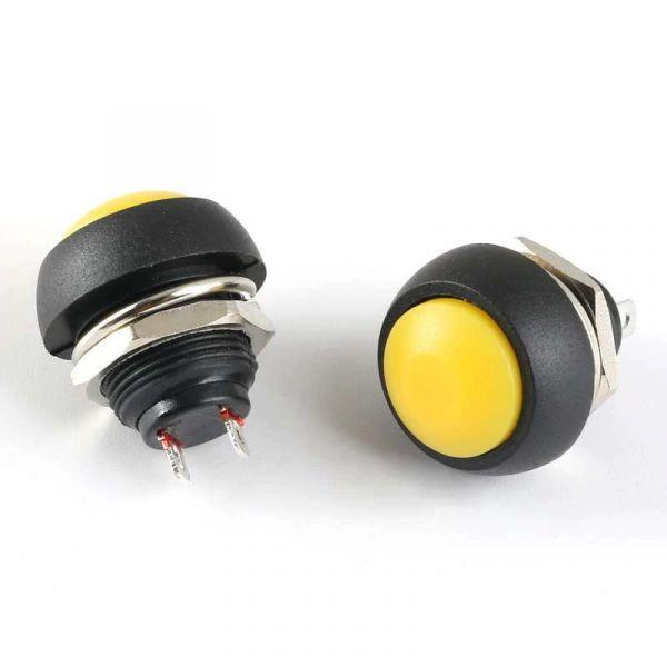 Drucktaster Button Schalter Gelb 12mm 250V 1A
