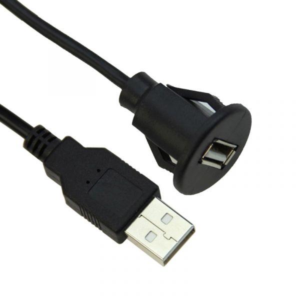 USB 2.0 A Stecker auf USB A Buchse Panel Mount 100 cm