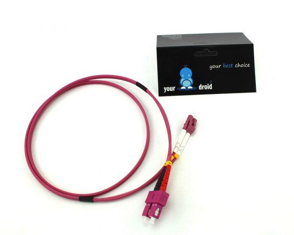 Glasfaser LWL Duplex Patchkabel LC-SC 50/125µ OM4 2m