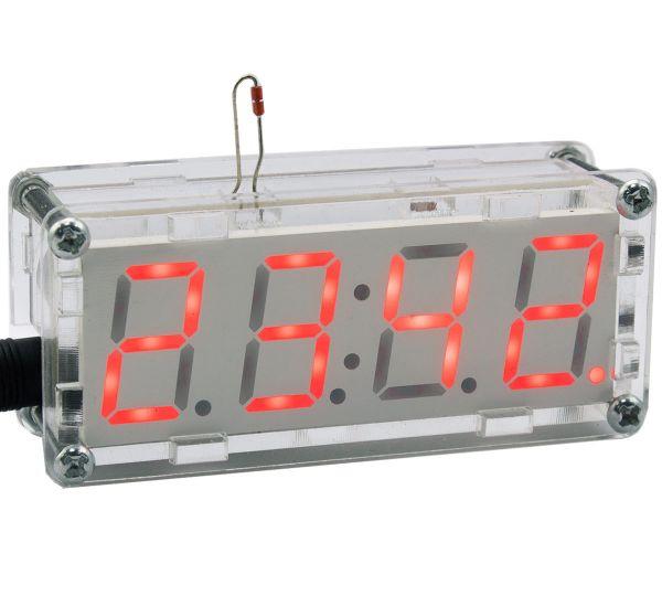 Bausatz elektronische Uhr mit 4 Bit Display Rot