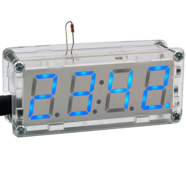 Bausatz  elektronische Uhr mit 4 Bit Display Blau