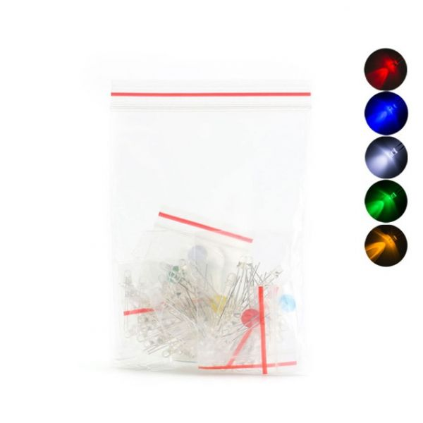 100 x Leuchtdiode LED 3mm - sortiert weiss, rot, gelb, blau, grün