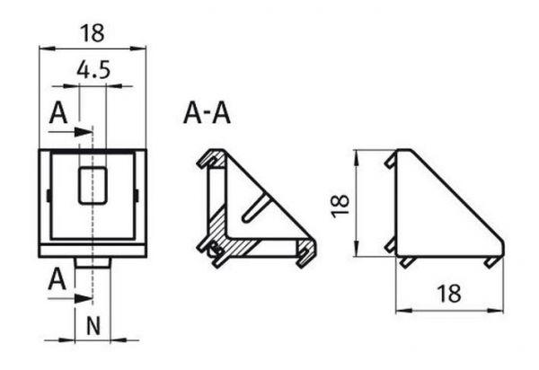 10x Winkel 20 I-Typ Nut 5