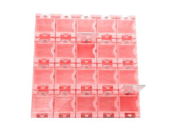 1x 20 Container Box (leer) für SMD Bauelemente - rosa