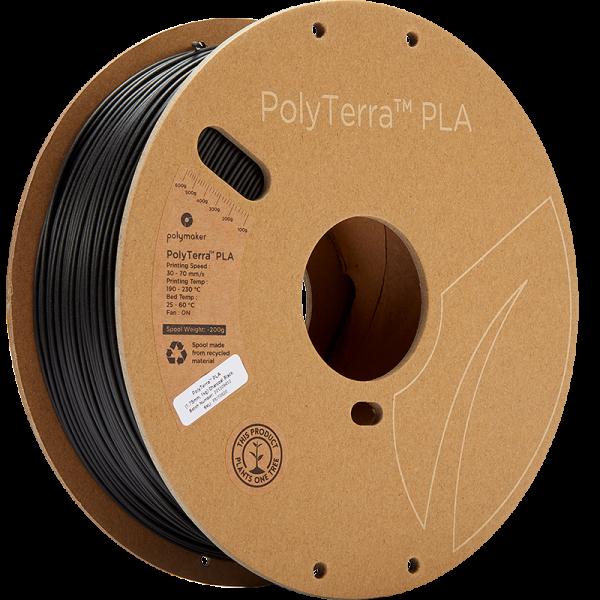 Polymaker PolyTerra PLA Filament Charcoal Black 1.75mm 1kg