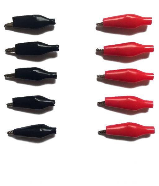 10er Set (5+5) Krokodilklemmen Metall Rot + Schwarz