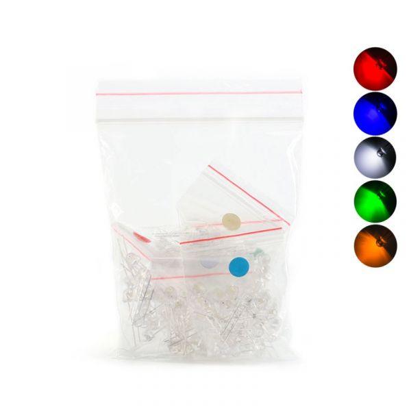 100x Leuchtdiode LED 5mm transparent - sortiert weiss,rot, gelb, blau, grün