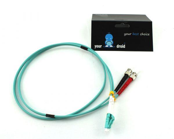 Glasfaser LWL Duplex Patchkabel LC-ST 50/125µ OM3 2m