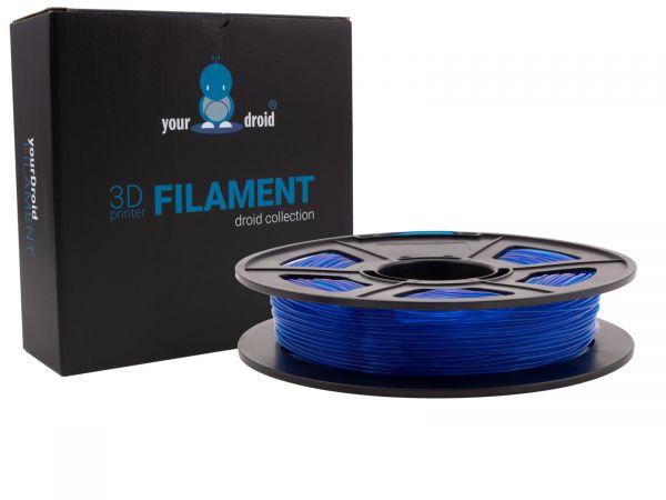 yourDroid TPU filament transparent blau 1.75mm 500g