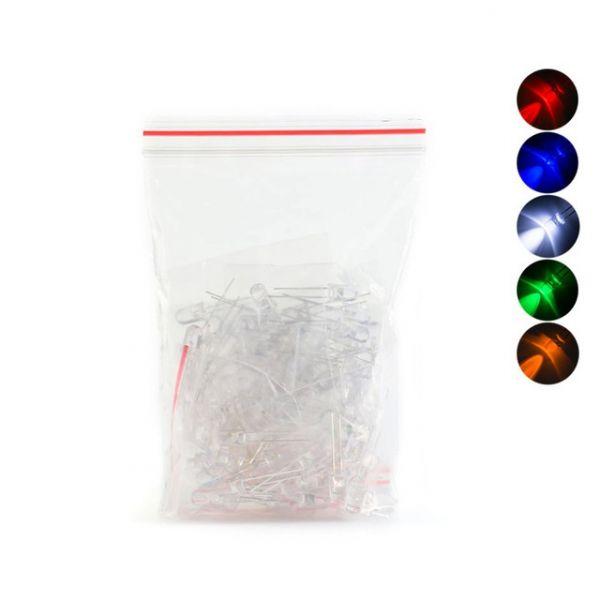 100 x F5 Leuchtdiode LED 5mm - sortiert weiss, rot, gelb, blau, grün