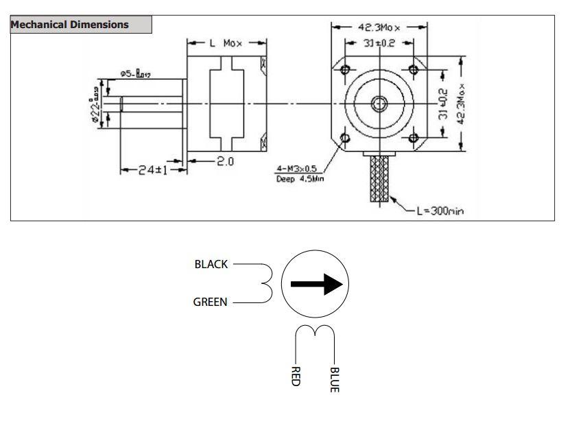 Nema 17 stepper schrittmotor 42byghw811 wantai 2 5a 3 1v for Nema 17 motor specs
